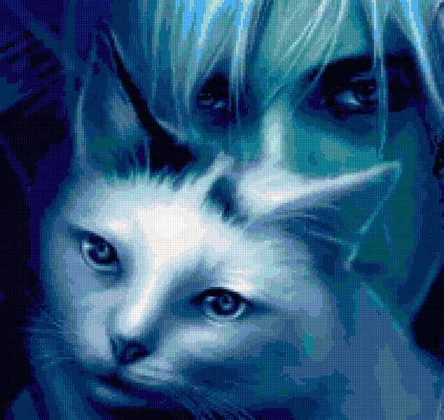 Портрет девушки с кошкой,