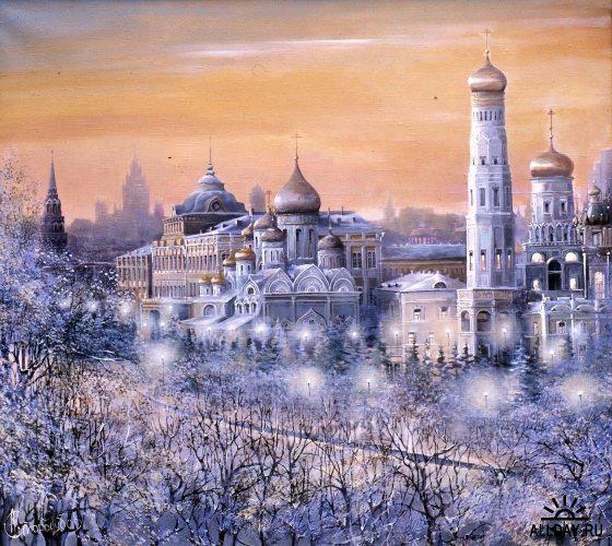 Вечерняя Москва, город, россия