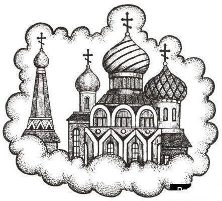 рисунок церкви карандашом: