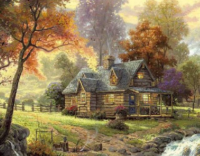 Домик у реки и осень, пейзаж,