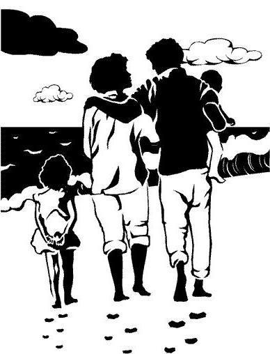 Семья на берегу, семья, дети,