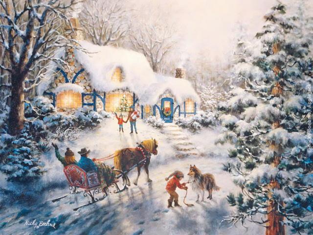 Зима, пейзаж, природа, зима