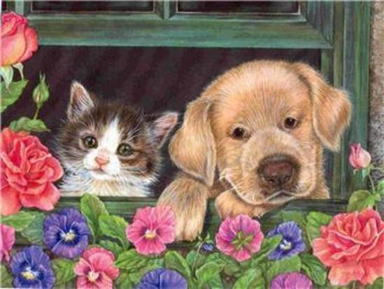 Котенок и щенок, оригинал