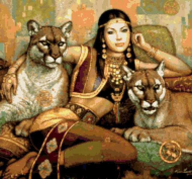 Девушка и дикие кошки,
