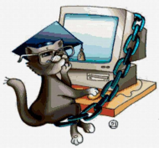 Кот учёный и компьютер, детям,