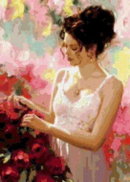 Фото вышивка девушка цветы