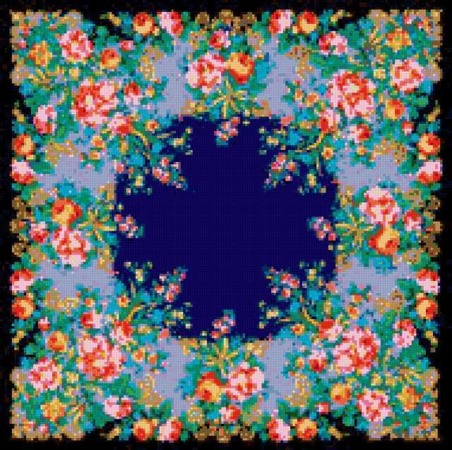 Цветочный орнамент, на чёрном,