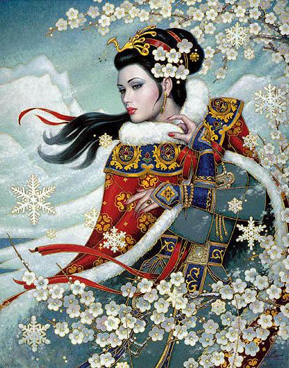 Девушка и цветущая сакура,