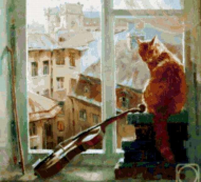 Рыжий кот на окне,