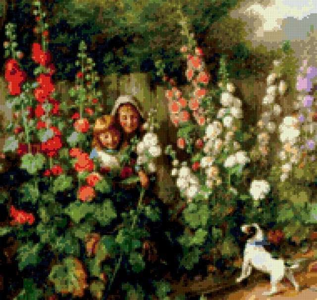 ... , мальва, картина, живопись, искусство: www.xrest.ru/preview/В зарослях мальвы-604078