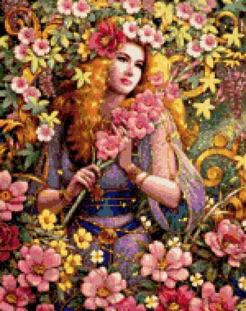 Схема вышивки королева цветов