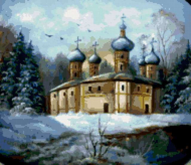 Церковь в зимнем лесу,
