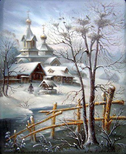 зима, снег, церковь,