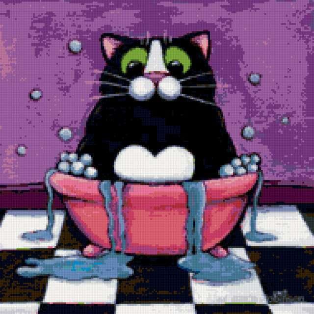 В ванной, коты, для детей