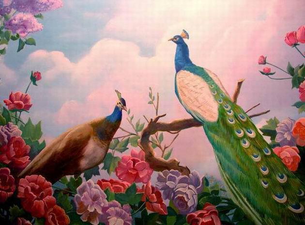 Райский сад, картина, павлин,