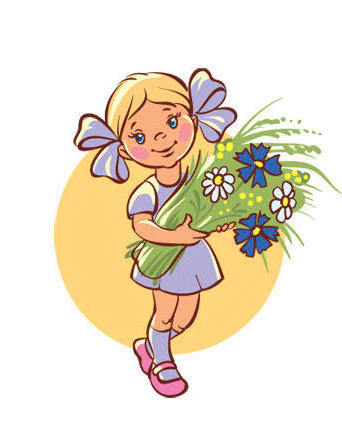 девочка с цветами картинки: