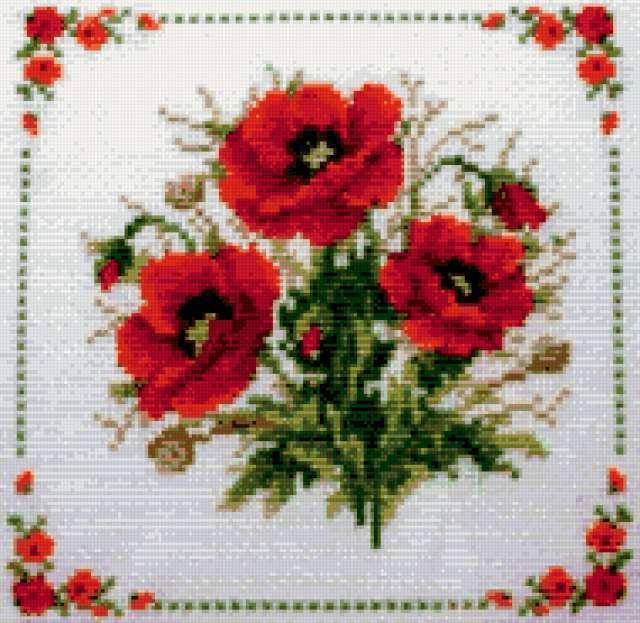 "Подушка ""Маки"", маки, цветы,"