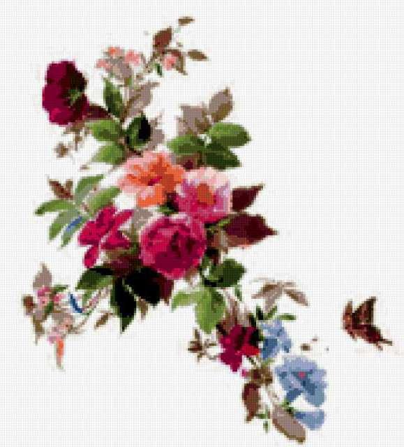 Цветочный орнамент с бабочкой,