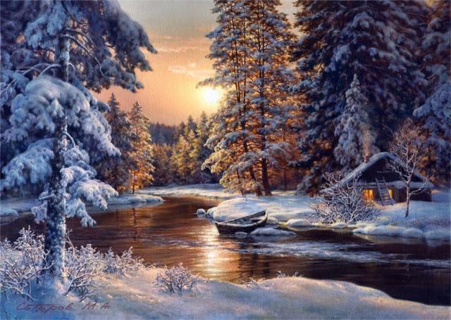 Зима, картины, сатаров, зима,