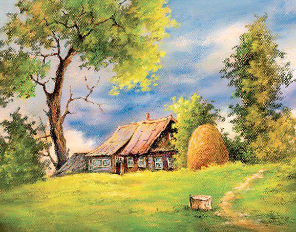лето, деревня, колодец,