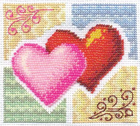 Схемы вышивки валентинки