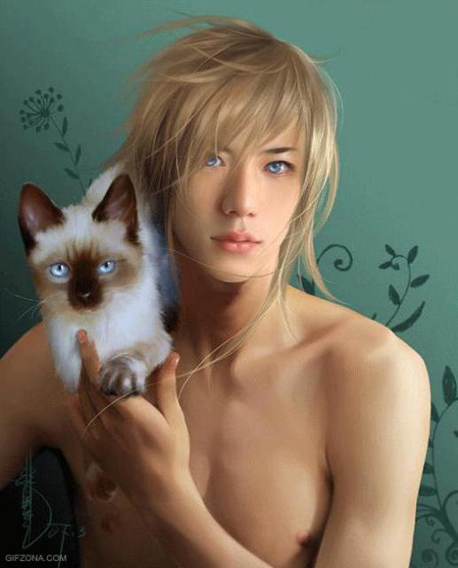 Он и сиамский котёнок,