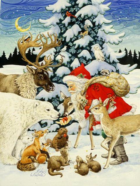 Санта Клаус и лесные звери,