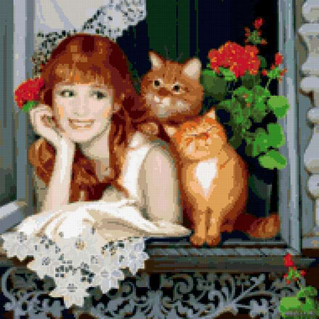 На окошке с рыжими кошками,