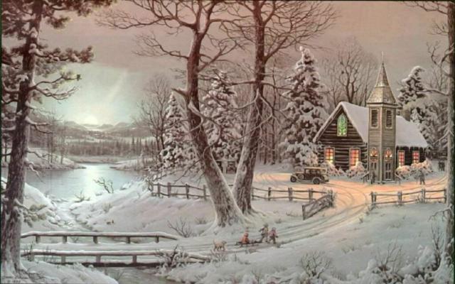 Зимний вечер, пейзаж. природа