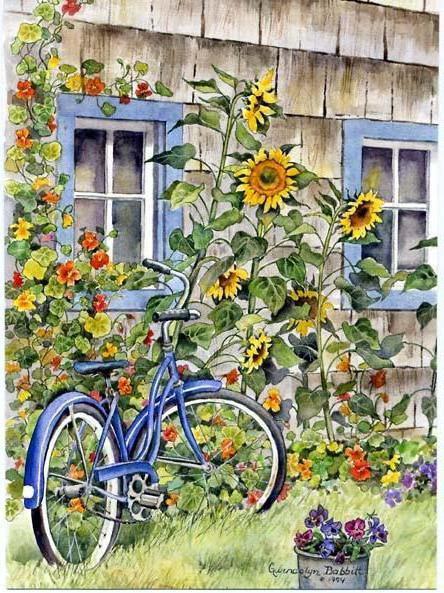 Велосипед в саду, живопись,
