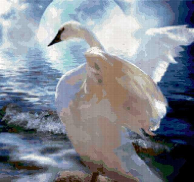 Белая лебедь и волны,