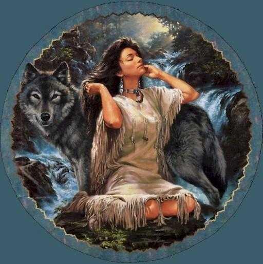 Индианка и волк, оригинал