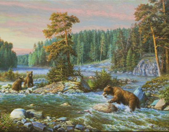 Пейзаж с медведями на рыбалке,