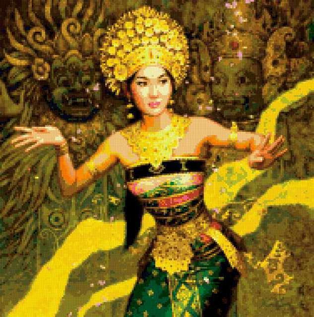 Девушка и буддийские мотивы,