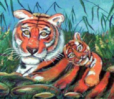 Тигрица с тигрёнком, оригинал