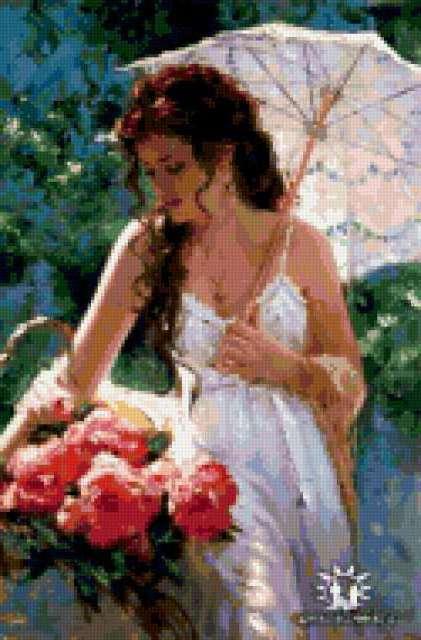 Девушка с розами, девушка с