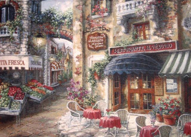 Уютная улочка с кафе, оригинал