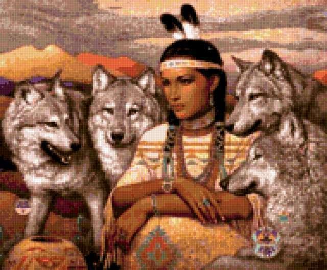 Девушка и стая волков,