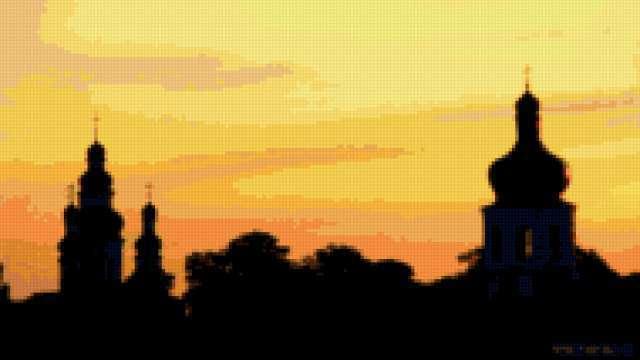Силуэт вечернего города