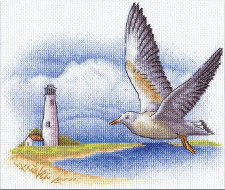 Чайка, чайка, море, маяк,