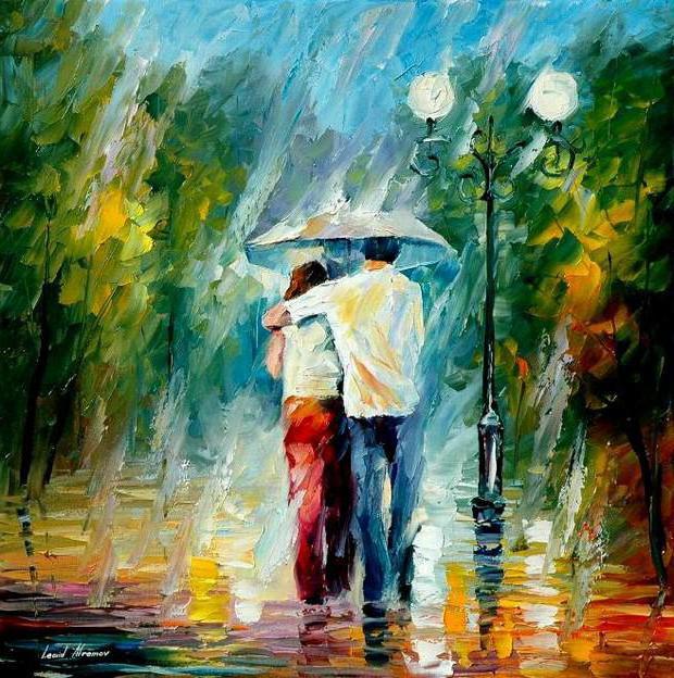 Картинки осень двое под дождем