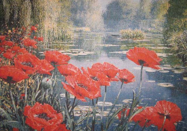 Маки у озера, цветы. пейзаж