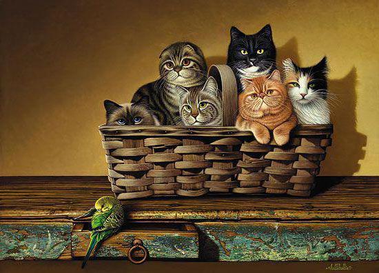 Котята,в корзине, оригинал