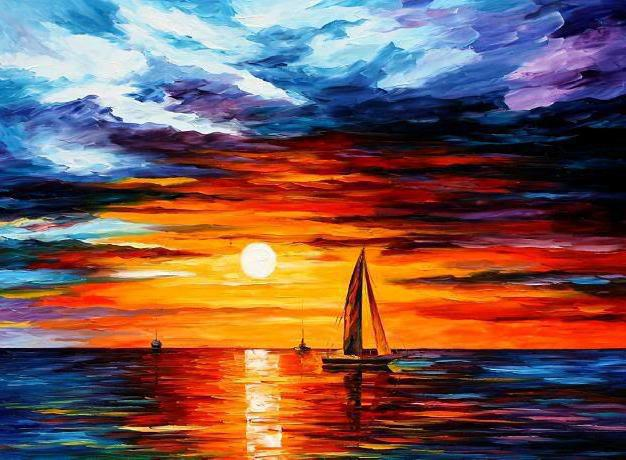 Морской пейзаж, закат, море,