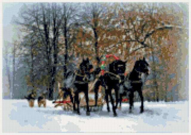 Русская тройка, природа, зима,