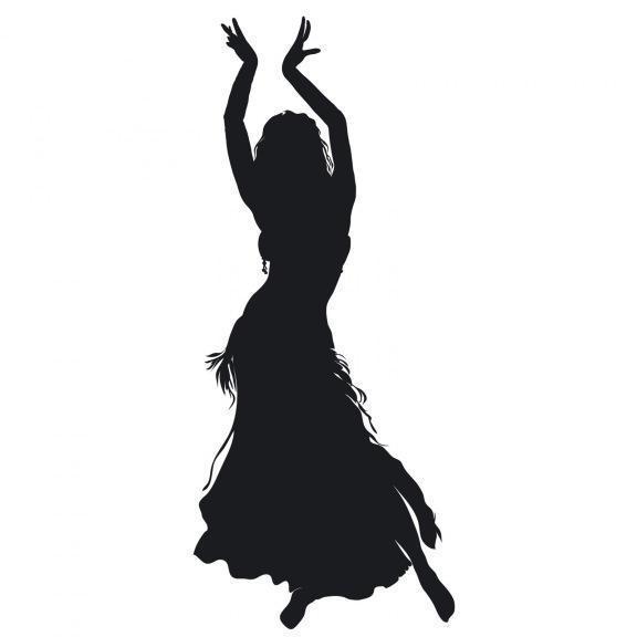 силуэт, девушка, танец