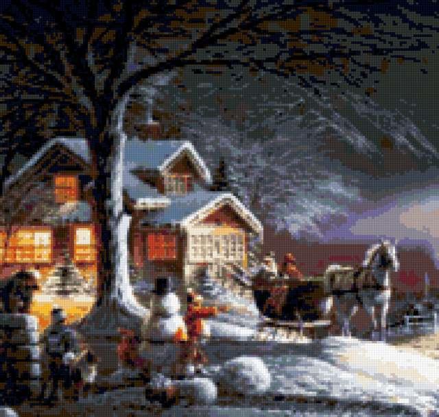 Зимний вечер, уютный домик,