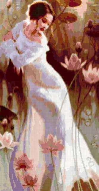 Девушка и цветы лотоса,