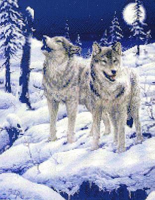 Волки в зимнем лесу, оригинал
