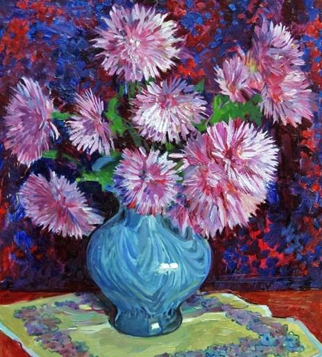 Хризантемы в голубой вазе,